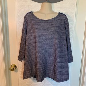 Coldwater Creek blue top cropped sleeves XL